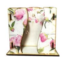 Asztali zsebkendő tartó fa Pink Rózsa