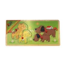 Állatos puzzle anya+kölyke párosító - Kutya - Macska