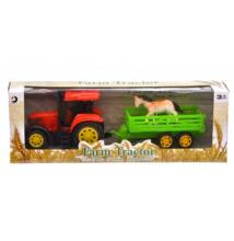 Traktor utánfutóval + 1db ló figurával