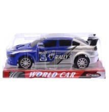Rally autó matricás kék/ezüst