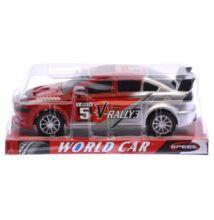 Rally autó matricás piros/ezüst