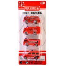 4db-os hátrahúzható mini tűzoltó autó készlet
