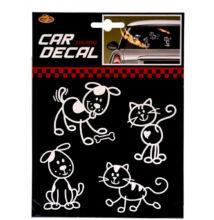 Autó Matrica kutya-macska 4db-os