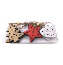 Karácsonyfadísz fa 6db-os Fa Szív Csillag