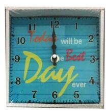 Üveg óra négyzet türkiz - Best Day 15cm 203069