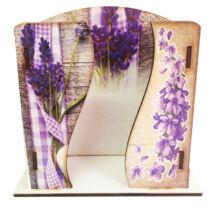 Asztali zsebkendő tartó fa Vintage levendula