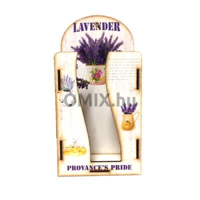 Fali zsebkendő tartó fa - Vintage levendula Provance