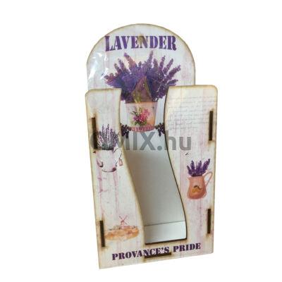 Fali zsebkendő tartó fa - Vintage levendula Provance 2