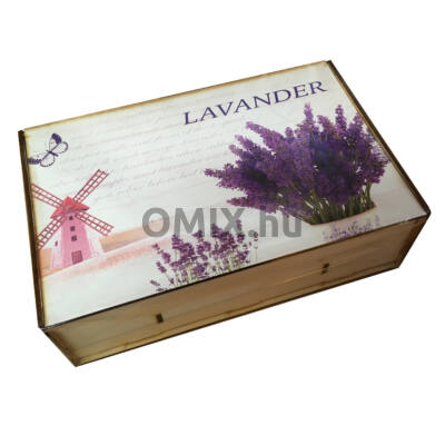 Teatartó fa doboz 8 rekeszes Levendula-Malom