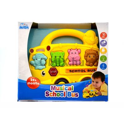Zenélő iskolabusz állathangokkal - Sárga