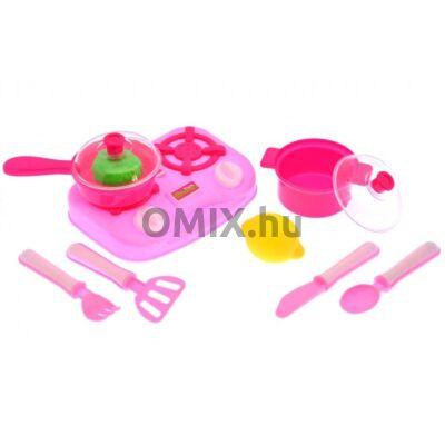 Játék rózsaszín főzőlap + kiegészítők