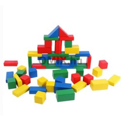 Fa építő kocka készlet színes 50 db
