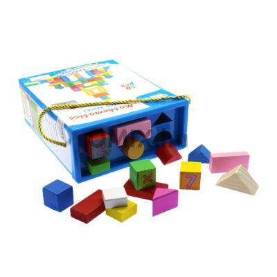 Fa építő kocka készlet 50db színes,feliratos