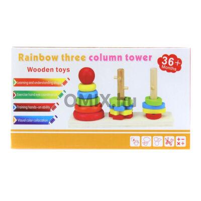 Fa montessori toronyépítő - 3 forma
