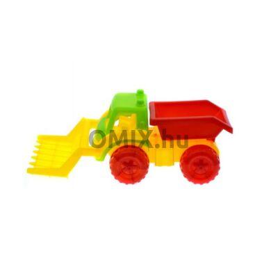 Munkagép - markoló zöld/piros 31 cm