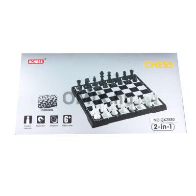 Sakk és Dáma Játék 2in1 mágneses 16x30 cm dobozban