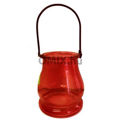 MÉCSESTARTÓ Kexin üveg Piros KX9961