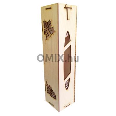 BORTARTÓ fa ajándék doboz Szőlőlevél mintával