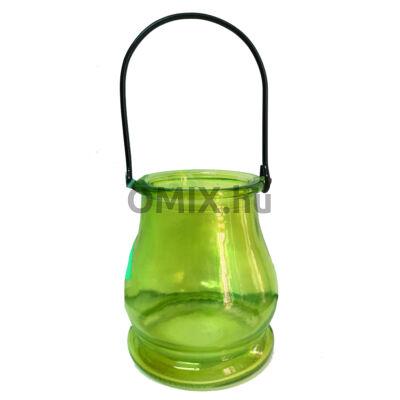 MÉCSESTARTÓ Kexin üveg zöld KX9961