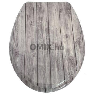 Bath Duck Wc-Ülőke - MDF - Mintás - Rozsdamentes Acél Zsanérokkal - Greywood