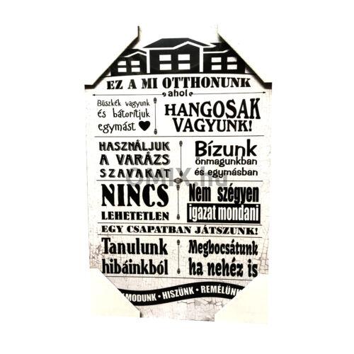Fa táblakép - Ez a Mi Otthonunk 40x25cm