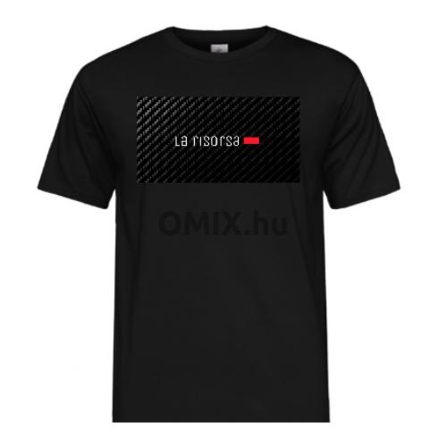 La Risorsa férfi fekete carbon mintás póló