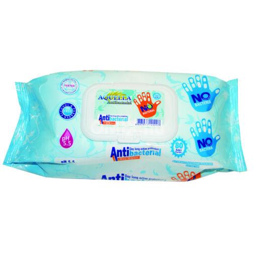 AQUELLA Antibacterial nedves törlőkendő 80db fliptop