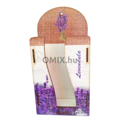 Fali zsebkendő tartó fa - Vintage Levendula csokor 2