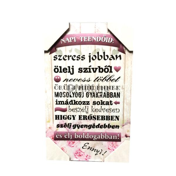 Fa táblakép - Napi Teendőid 40x25cm