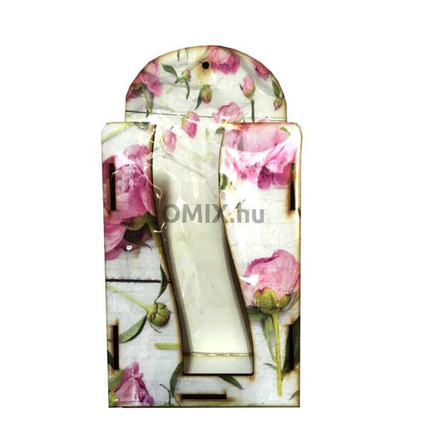 Fali zsebkendő tartó fa - Pink Rózsa