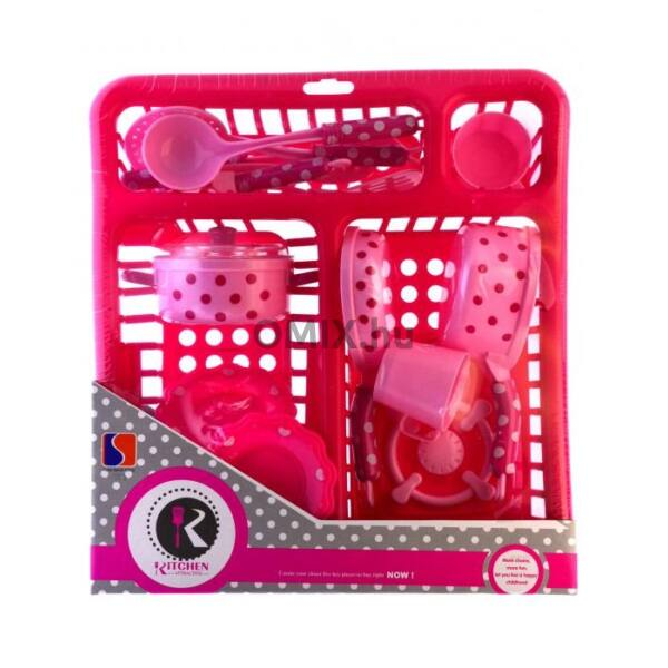 Játék rózsaszín edényszárító pöttyös