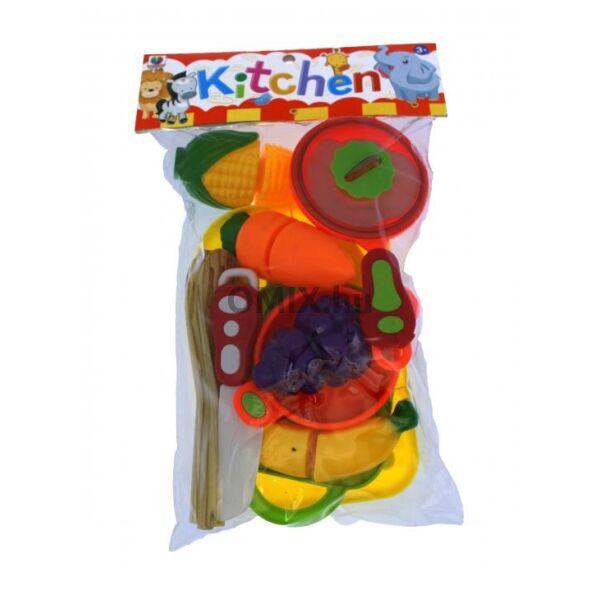 Játék gázfőző - vágható gyümölcsök/zöldségek + kiegészítők
