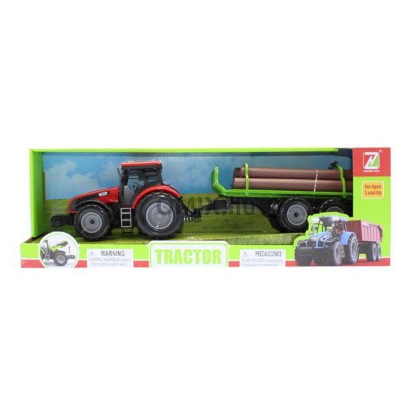 Traktor - rönkszállító, piros