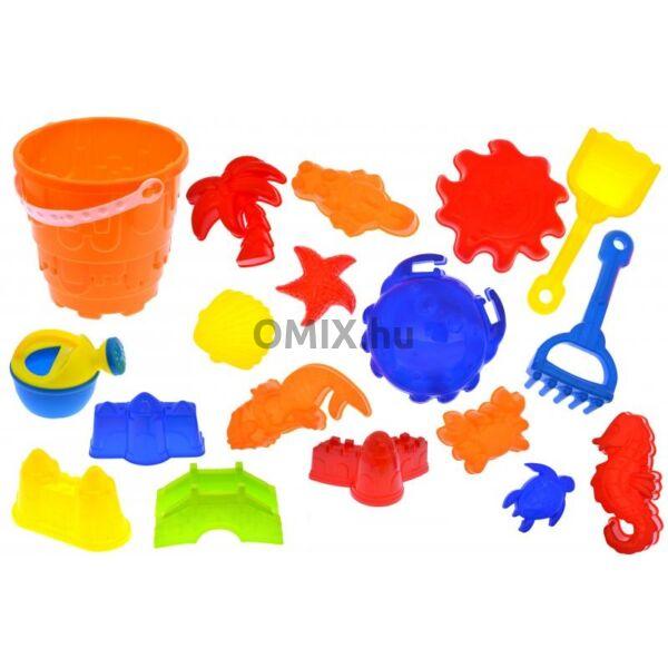 Homokozó készlet - vödör, lapát, minták, gereblye, locsoló
